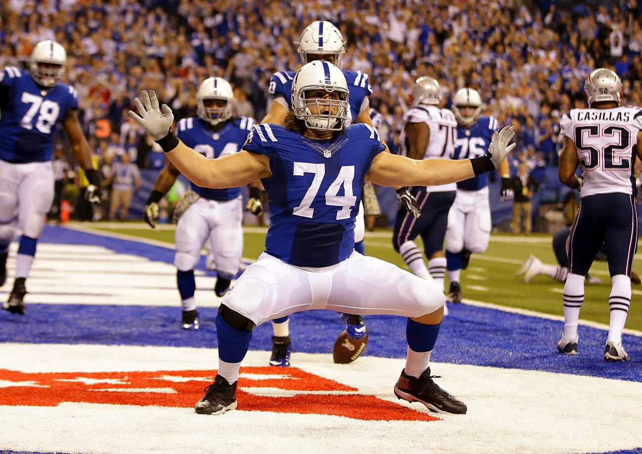 Offensive tackle Anthony Castonzo and the Indianapolis Colts didn't have much to celebrate while being blown out 42-20 by the New England Patriots in Week 11 of the 2014 season. Castonzo provided one brief moment when he caught his first career touchdown pass and danced his fanny off.