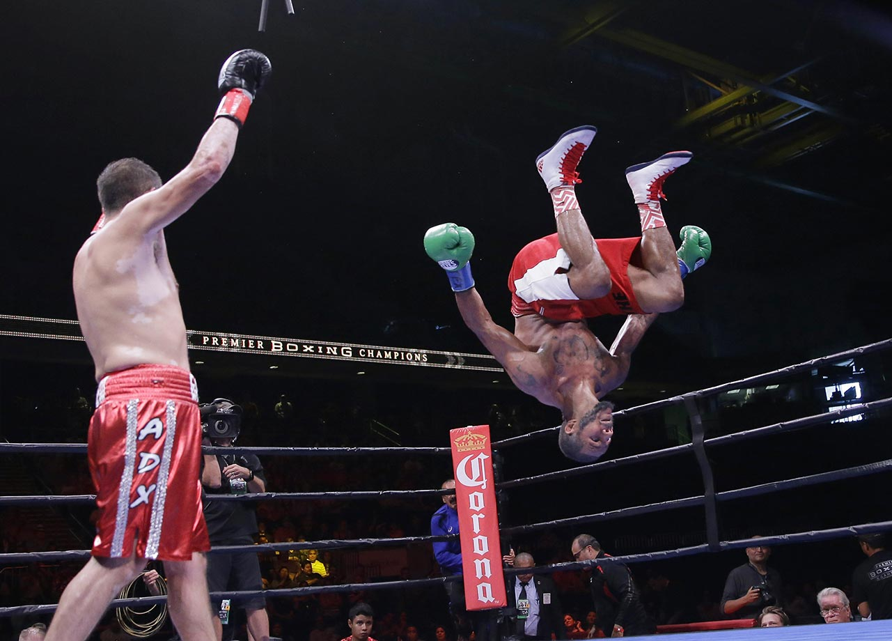 Anthony Dirrell celebrates with a backflip after defeating Marco Antonio Rubio in their super middleweight bout in Corpus Christi, Texas.