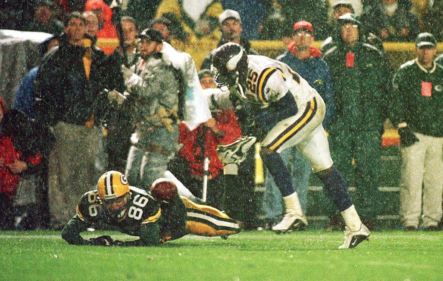 2000: Antonio Freeman's roll-over catch off a deflection by Vikings DB Chris Dishman. The grab resulted in 43-yard TD to beat Minnesota in overtime.