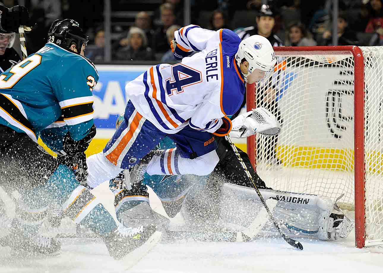"""While nursing an ankle sprain, the Oilers' rookie forward had to have his appendix removed in early January. """"I've never really been injured and then in two days I kind of got everything,"""" he told the Toronto Sun. """"I just woke up in the morning and my stomach was killing me. It was bad. I thought I had food poisoning, originally. I was vomiting and it was a really sharp pain. I came to the rink, checked it out and they said you have to go to the hospital. The doctor said I had appendicitis and had to get it removed right away. If it bursts it could be really dangerous. Within two hours I was on the operating table."""" Eberle ended up missing a month."""