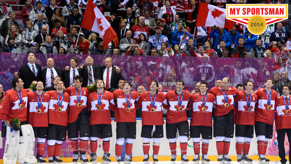 The Canadian men's hockey team celebrates their gold medal in Sochi.