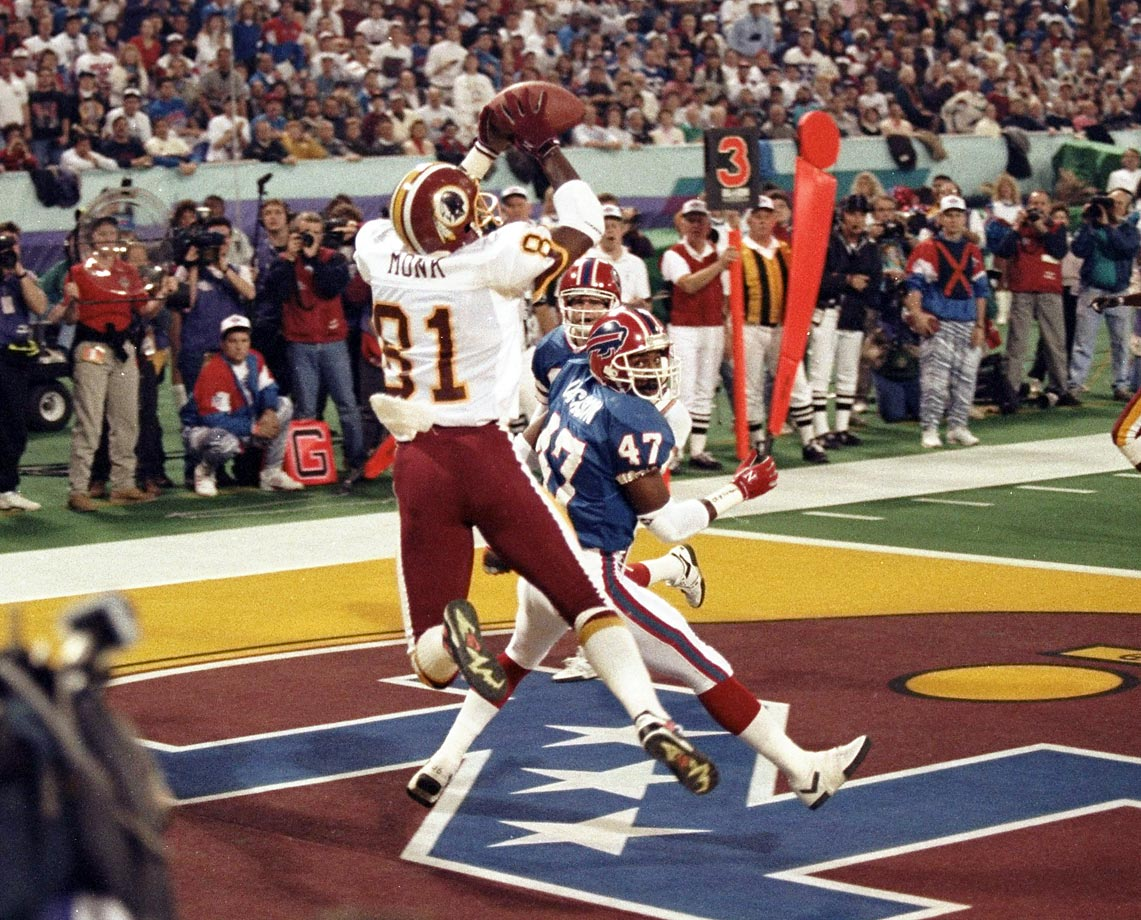 Art Monk appears to catch a touchdown pass over the head of Buffalo Bills cornerback Kirby Jackson in Super Bowl XXVI in January 1992. It was the first time a touchdown was overturned by instant replay in a Super Bowl, although the Redskins went on to win 37-24.