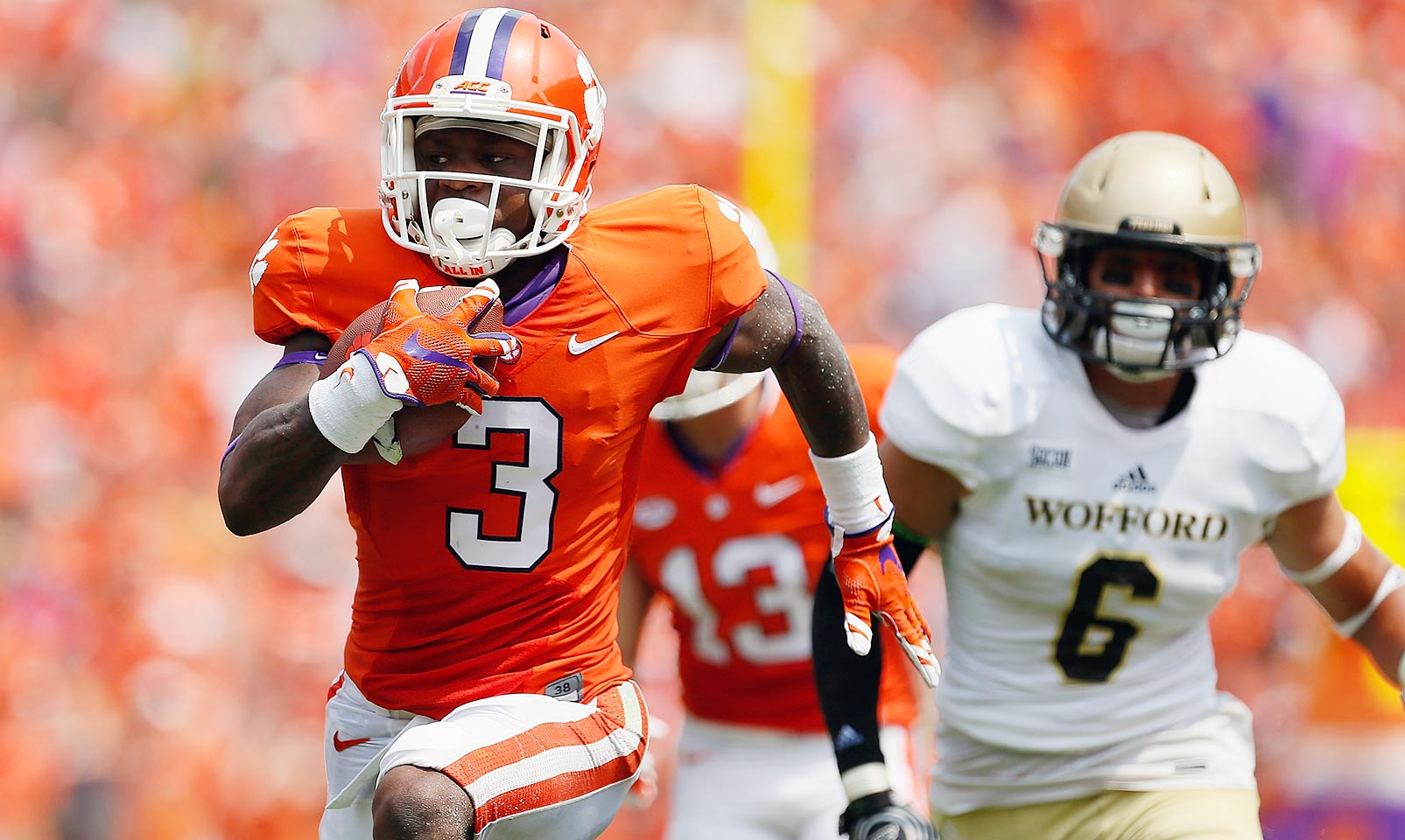 Clemson 49, Wofford 10: The Tigers kicked of the season with a comfortable win over the Terriers in which Clemson scored the first 35 points of the game.