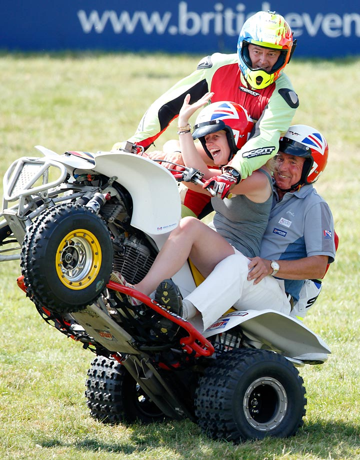 Mark Phillips takes part in a quad bike stunt at the Festival of British Eventing at Gatcombe Park.