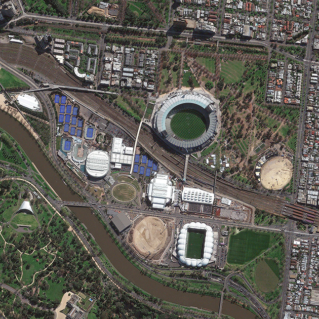 An aerial view of Melbourne Park.
