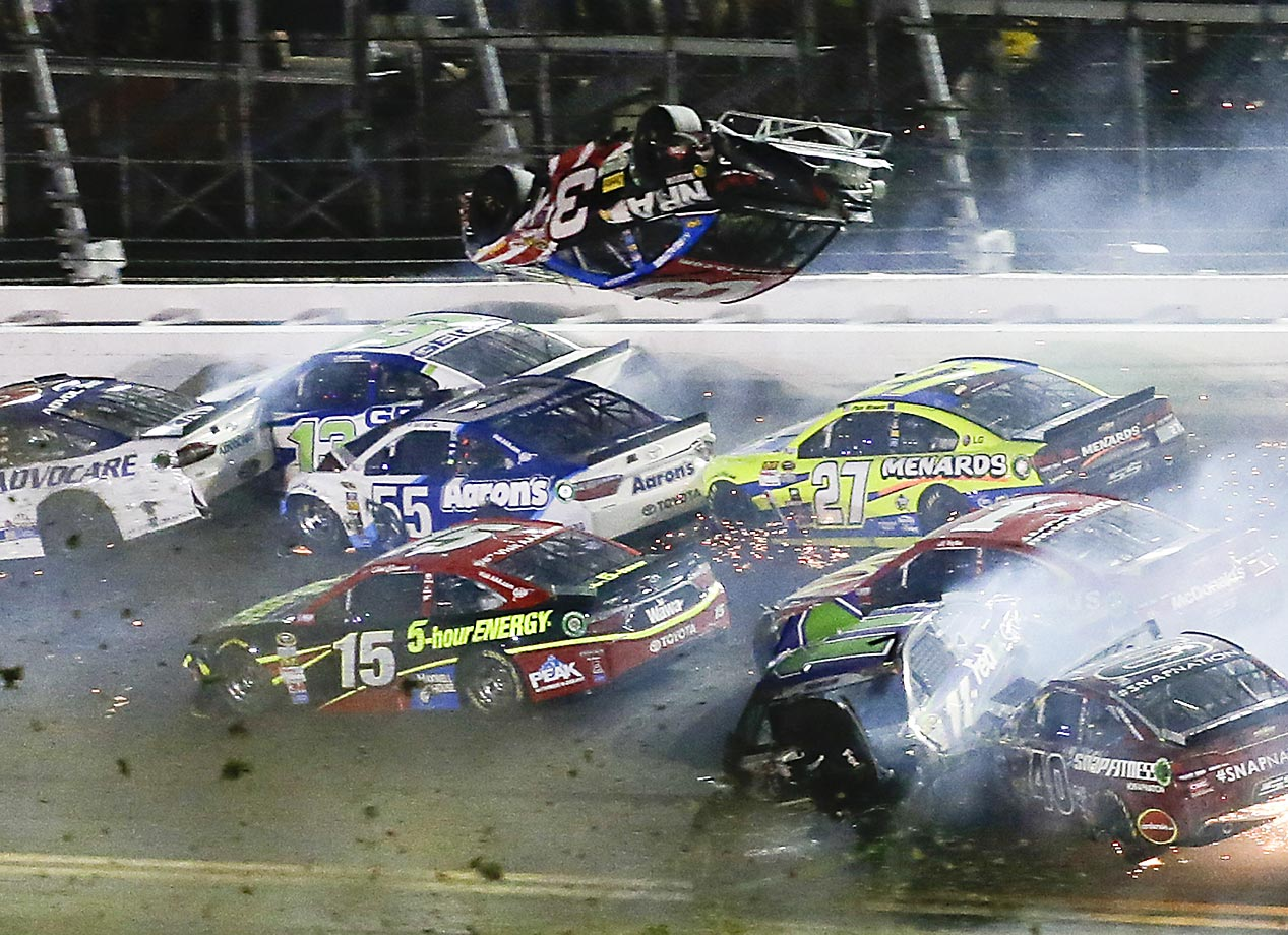 Austin Dillon goes airborne and hits the catch fence on the final lap of the NASCAR Sprint Cup race at Daytona International Speedway.