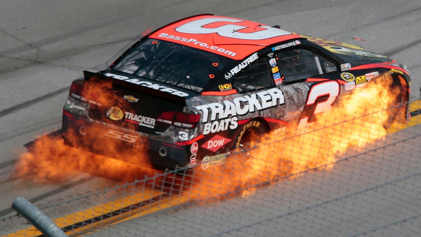 Austin Dillon's car catches fire during the Talladega 500.