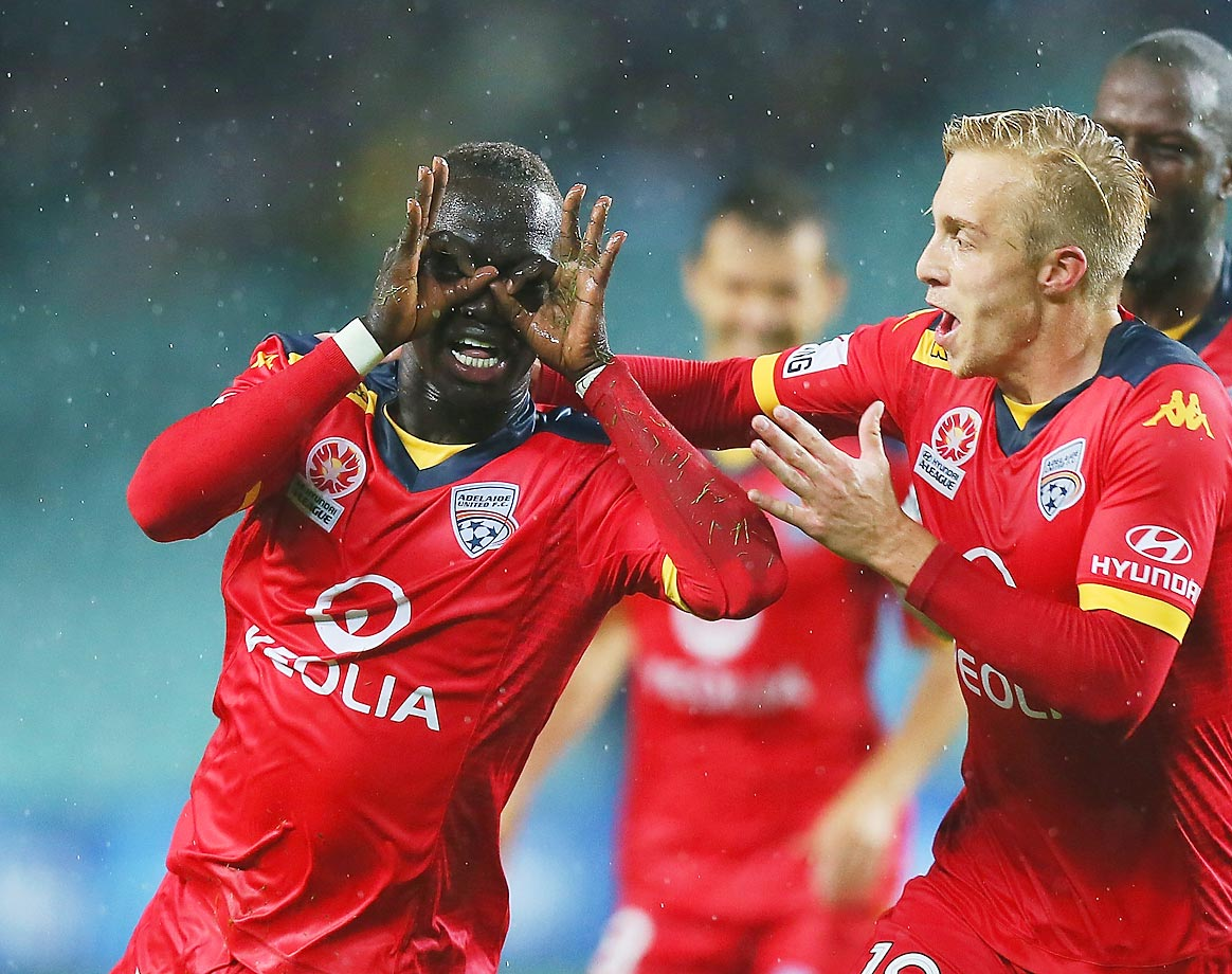 Awer Mabil celebrates his goal during the round 24 A-League match between Sydney FC and Adelaide United.