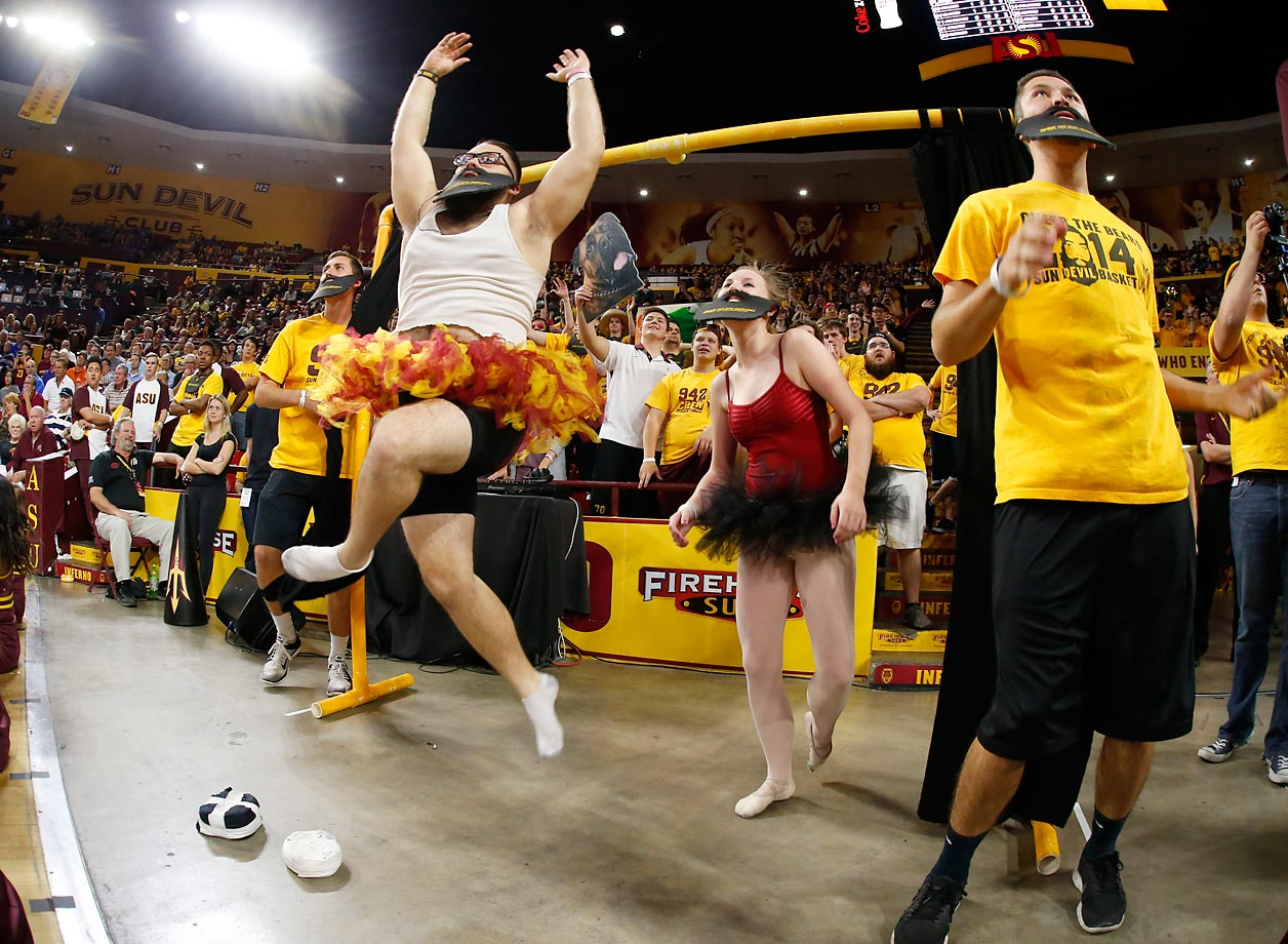 Arizona State fans showcase their Curtain of Distraction during their game against UCLA.   ASU fans showcase various visual distractions while opponents shoot free throws.