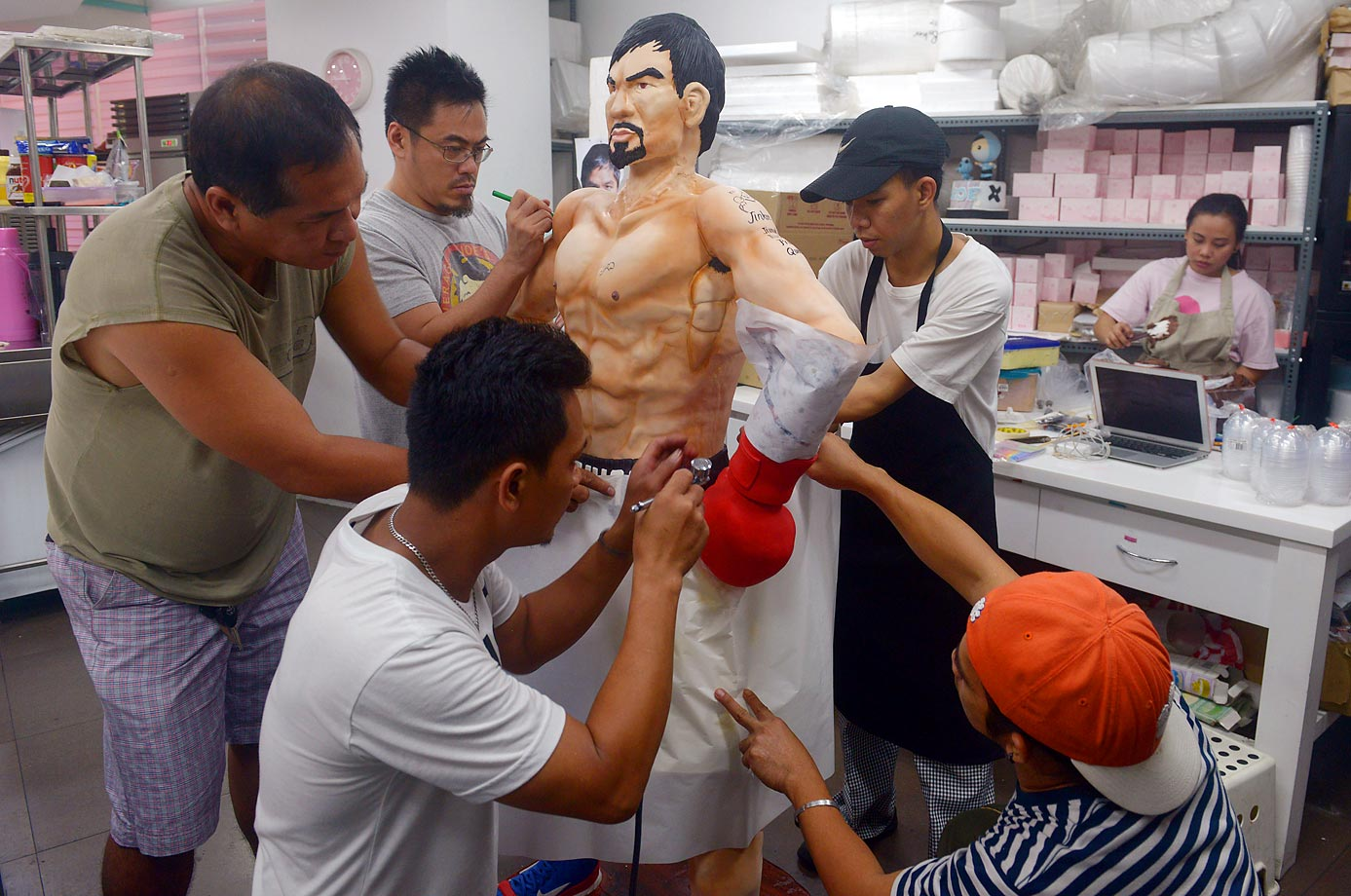 The Bunny Baker Cafe in Manila produced life-sized boxing cakes of Manny Pacquiao, which took about a week to bake and assemble, and would cost you about $4,000.