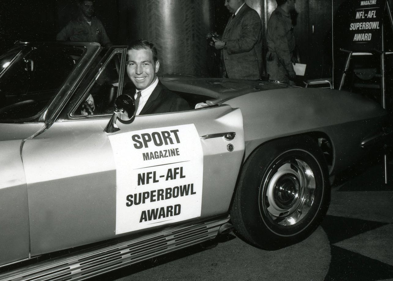 Bart Starr of the Green Bay Packers won the MVP in both 1967 and 1968.                                                                  (Photo courtesy of The SPORT Gallery, which recently opened its doors in New York's West Village, at 23 8th Avenue. The SPORT Gallery features classic sports photography from the pages of its namesake, SPORT magazine, as well as vintage-inspired apparel and accessories highlighting sport's Golden Era. It can also be accessed online at thesportgallery.com.)
