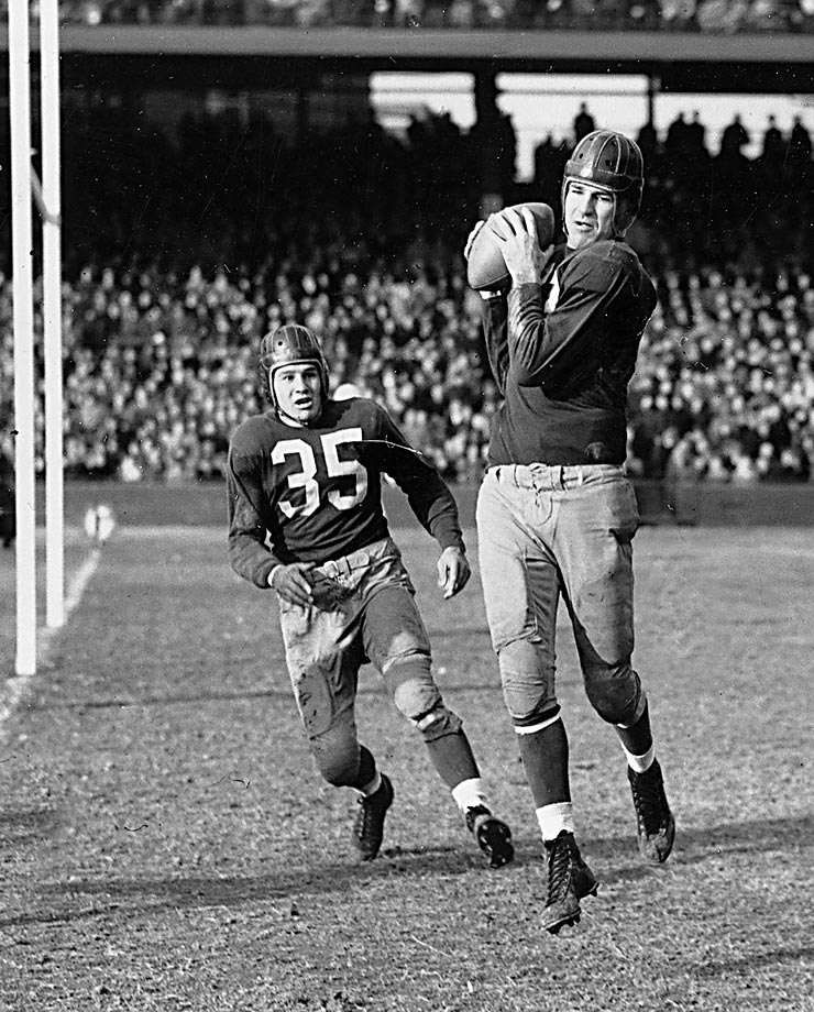 Sammy Baugh helped to pass a rule in 1946 stating that forward passes which hit the goalposts are ruled incomplete. During the NFL Championship game the previous year, Baugh and the Redskins lost after the Rams scored a safety off Baugh's pass that hit the goalpost.