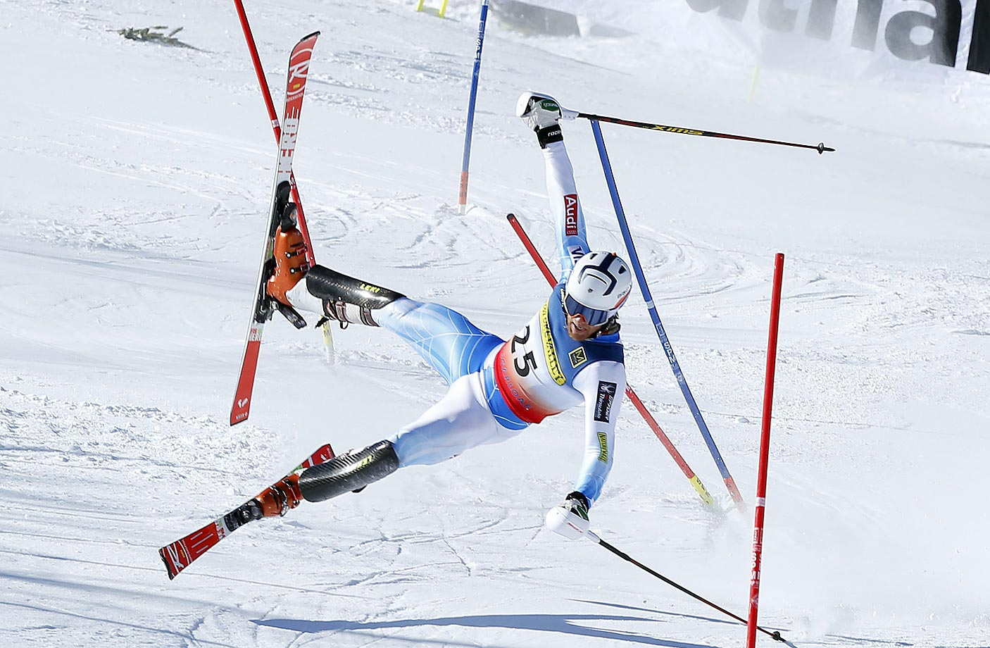 Jack Auty goes airborne in the slalom at the U.S. Alpine Championships.