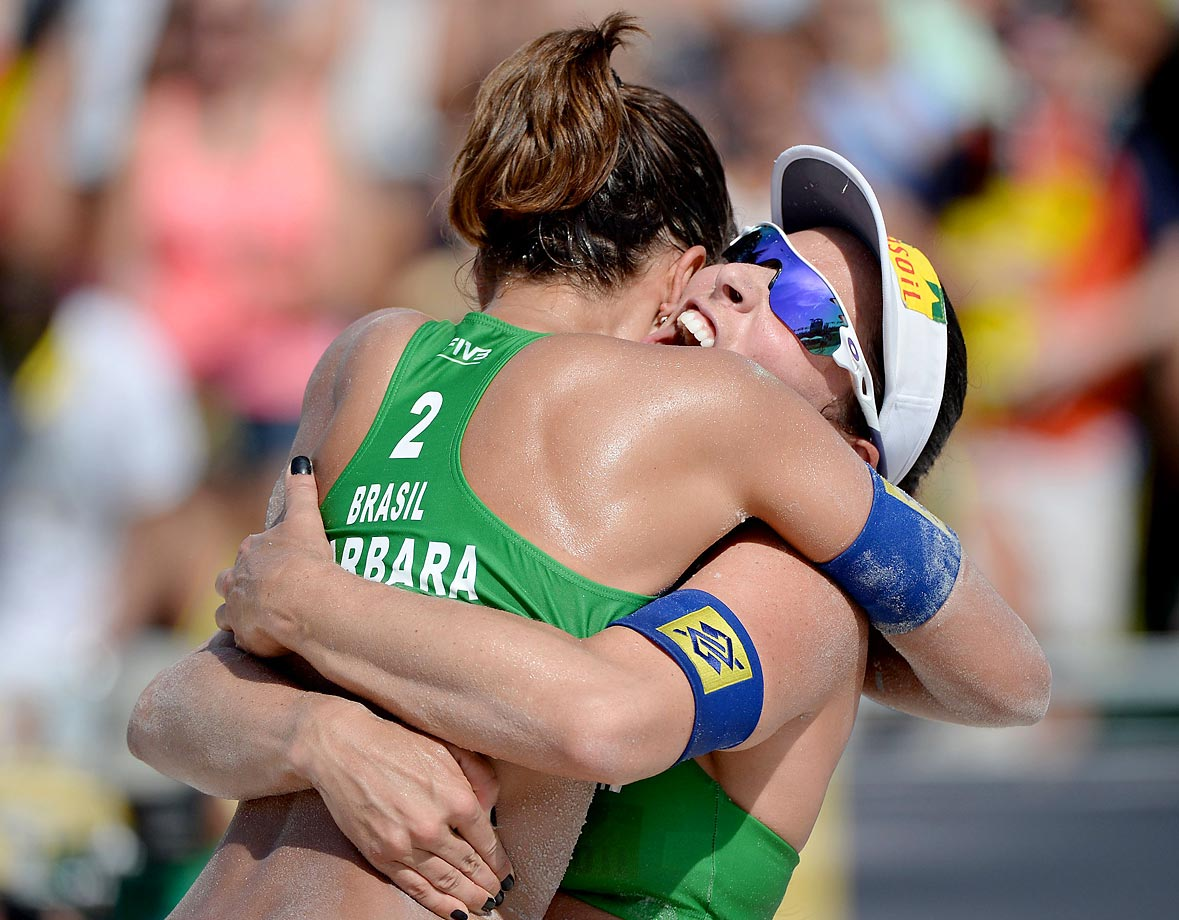 Agatha Bednarczuk and Barbara Seixas of Brazil celebrate their straight-sets win in the women's final.