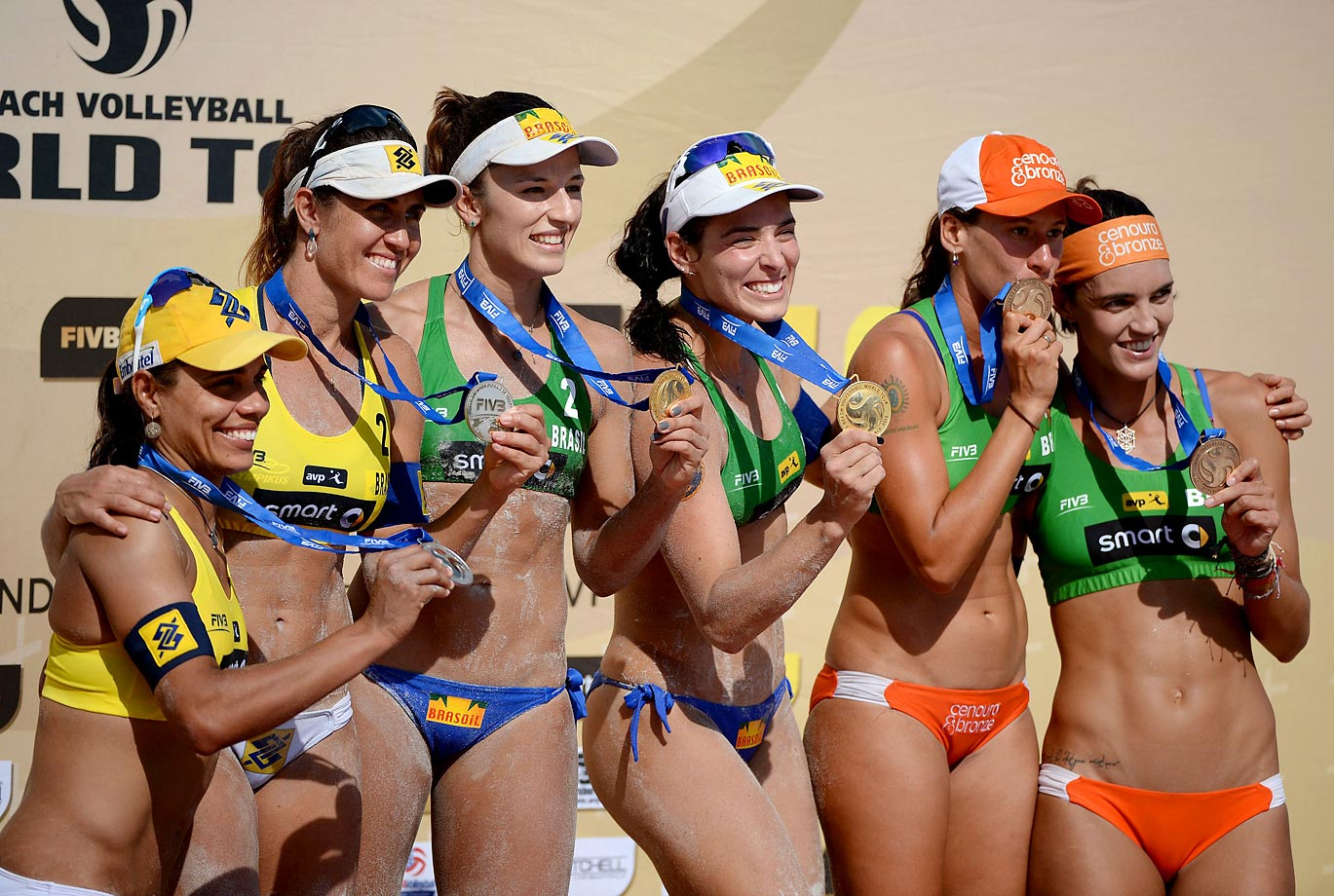 A shot of the all-Brazilian winners podium (L-R): silver medalists Juliana Felisberta and Maria Antonelli, gold medalists Agatha Bednarczuk and Barbara Seixas and bronze medalists Fernanda Alves Berti and Taiana Lima.