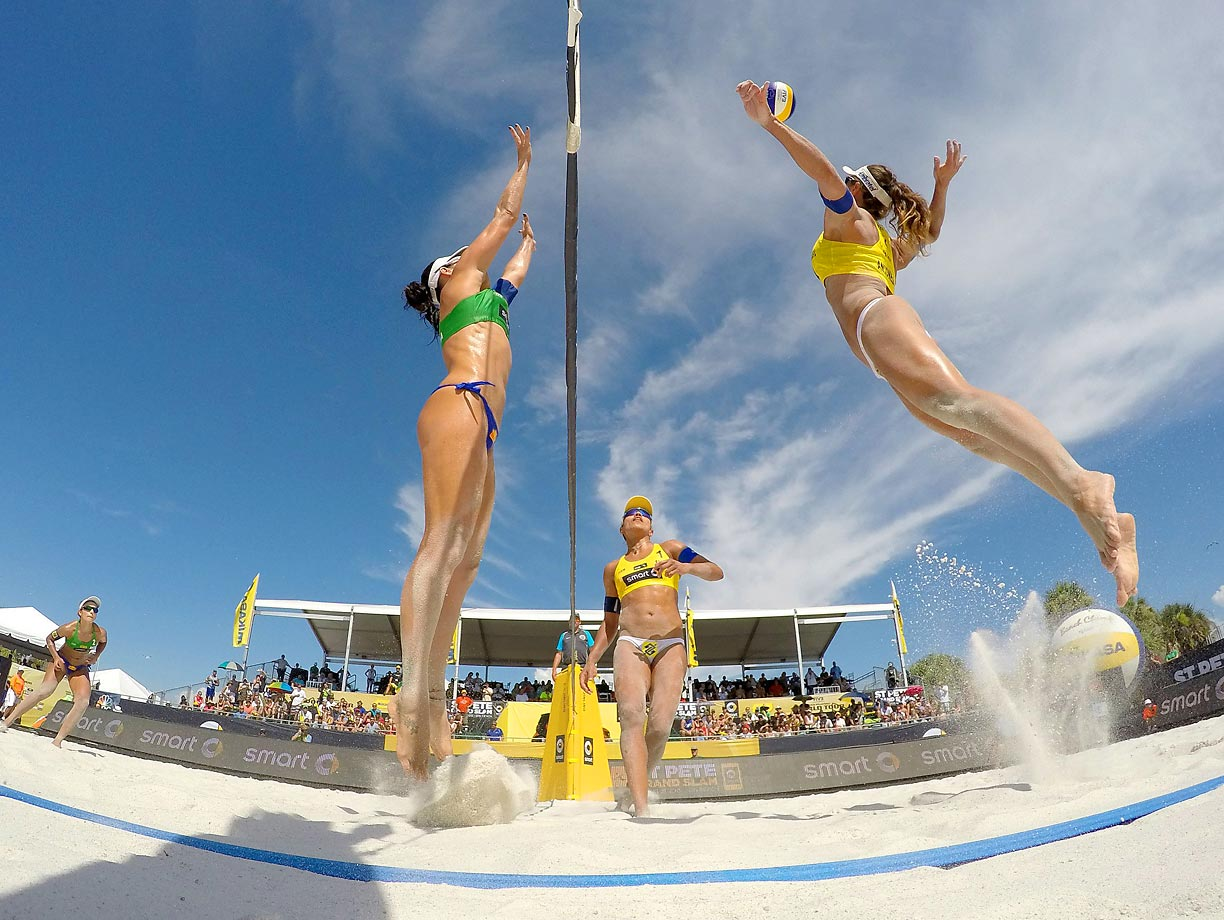 Maria Antonelli of Brazil goes up for a spike against Agatha Bednarczuk of Brazil during the women's final.