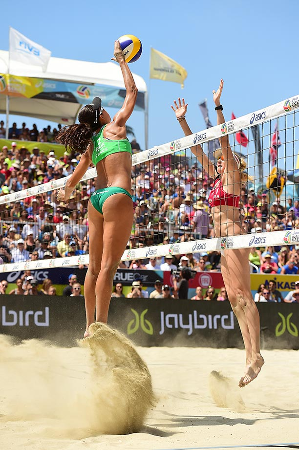 Tallita Antunes hammers a shot past Kerri Walsh-Jennings during the final.