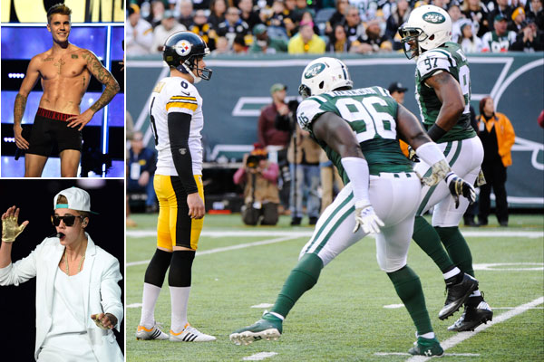 Steelers, Jets and Justin Bieber :: Getty Images