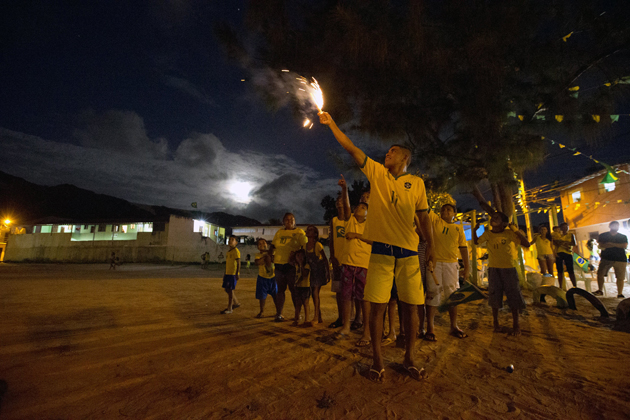 Brazilian fireworks are no joke. The ones that lit up the night sky sounded like gunshots. The ones that detonated in the nearby dirt park sounded like bombs.
