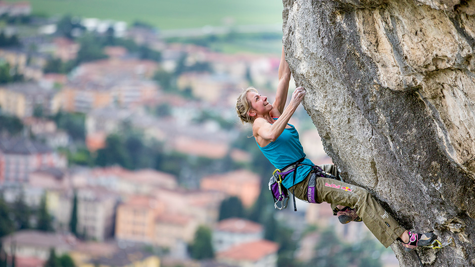 Angela Eiter climbs in Arco, Italy.