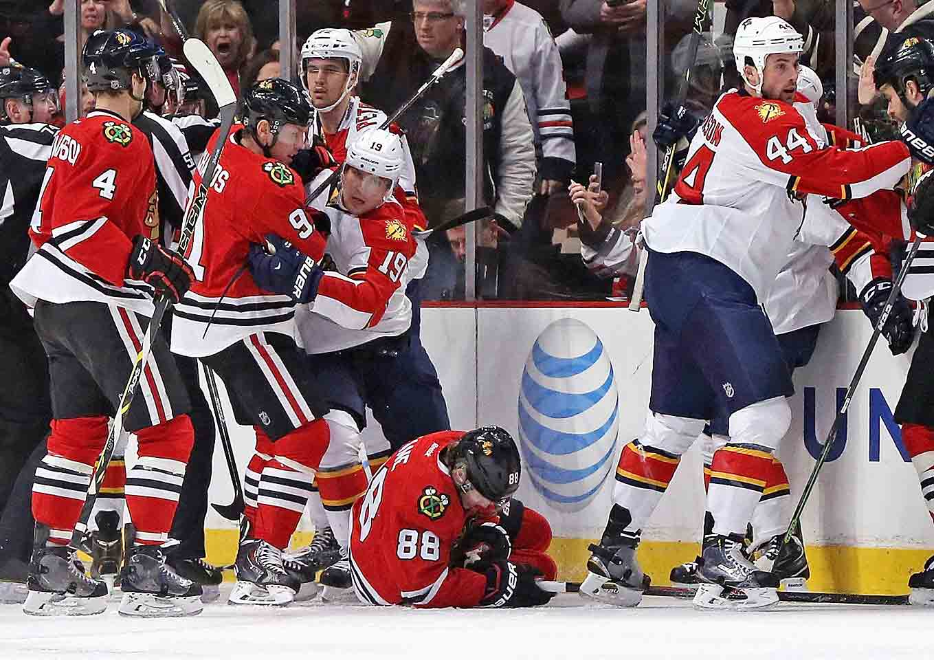 Early in the first period of a 3-2 win against the Panthers, Patrick Kane lands awkwardly against the boards after being crosschecked and leaves the game. Placed on injured reserve with a broken clavicle, he's expected to miss two to three months. The injury ends his regular season, one in which he'd racked up 27 goals and 64 points in 61 games. Of greater concern: The Hawks may have to weather the first two rounds of playoffs without him.