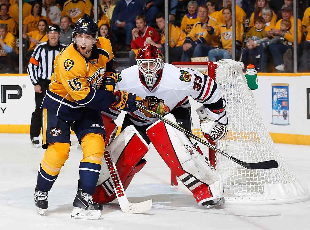 Bolstered by the amazingly fast return of Patrick Kane for Game 1 of their first round series vs. the Predators, the Hawks rally for a 4-3 win in Nashville. Kane chips in two assists and the winner is scored by Duncan Keith at 7:49 of the second overtime. Goalie Scott Darling makes one of the great relief appearances in NHL history by blanking the Preds after entering the game to start the second period. He becomes Chicago's starter for the next three games.