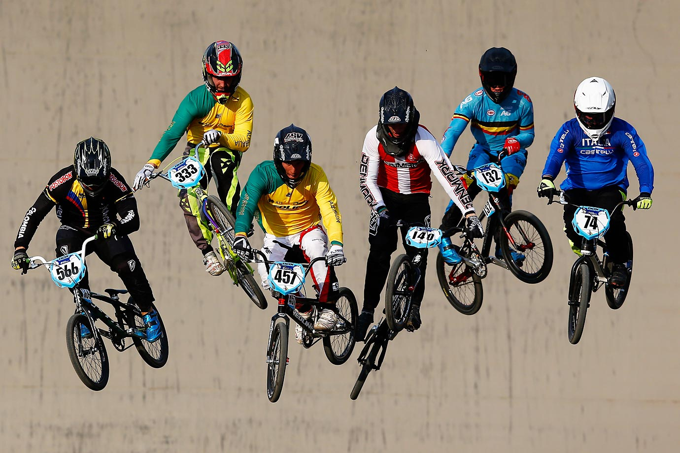 Riders during a practice at the UCI BMX World Championships in Zolder, Belgium.