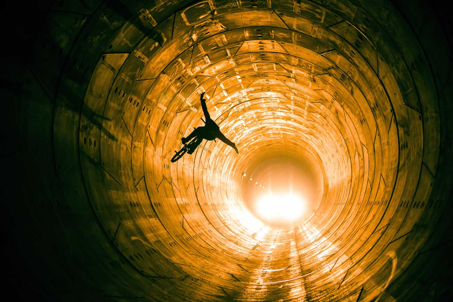 Dawid Godziek busts out a few tricks in the tunnel during the Red Bull Tube Check in Warsaw, Poland.