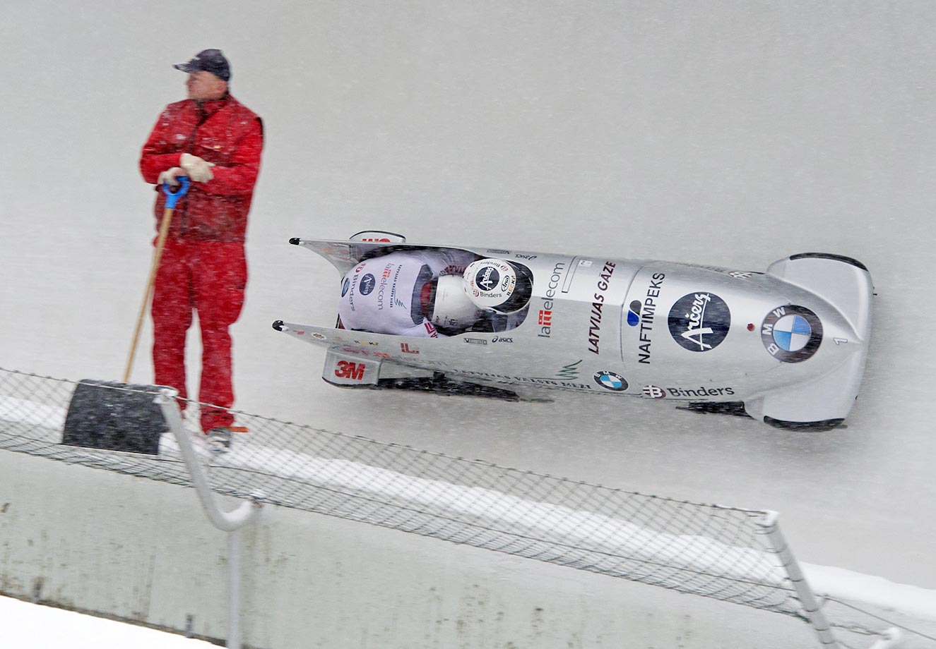 A view of the two-man bobsled competition at the Bob World Cup in Altenberg, eastern Germany.