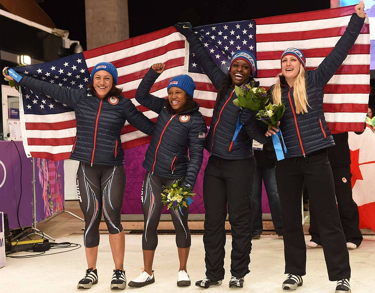 The U.S. won silver and bronze in the women's bobsleigh on Wednesday, featuring, from left,  Elana Meyers and Lauryn Williams (both in second place) and Aja Evans and Jamie Greubel (both in third).