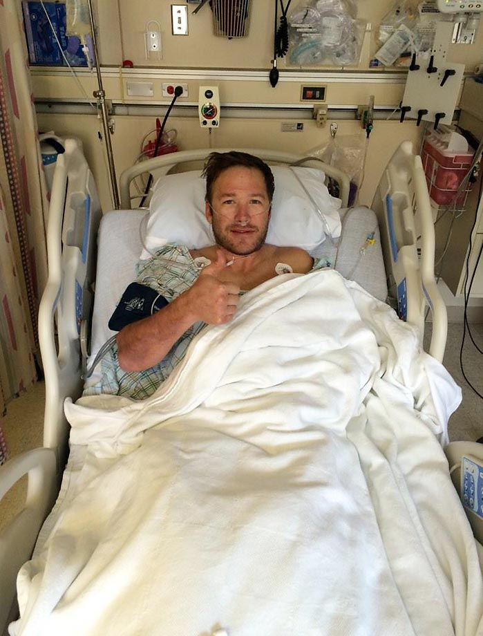 """Out of a successful Surgery for a severed hamstring tendon. Feeling lucky since things could have been way worse."""