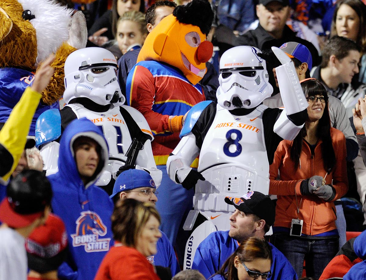 Boise State Broncos fans dressed as stormtroopers cheer in the stands during the team's 48-21 victory over the UNLV Rebels on Nov. 5, 2011 at Sam Boyd Stadium in Las Vegas.