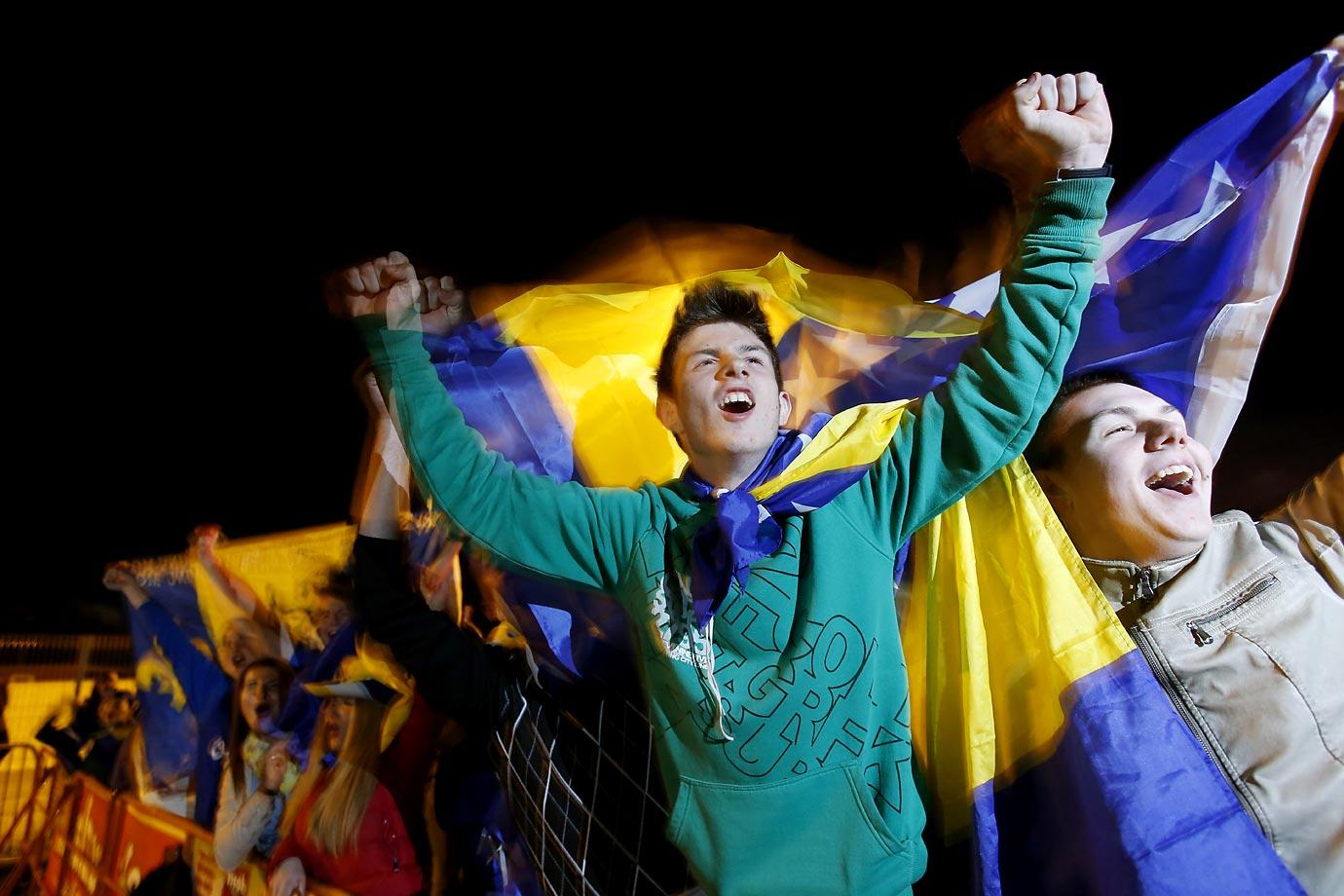 Bosnia fans in Tuzla, Bosnia.