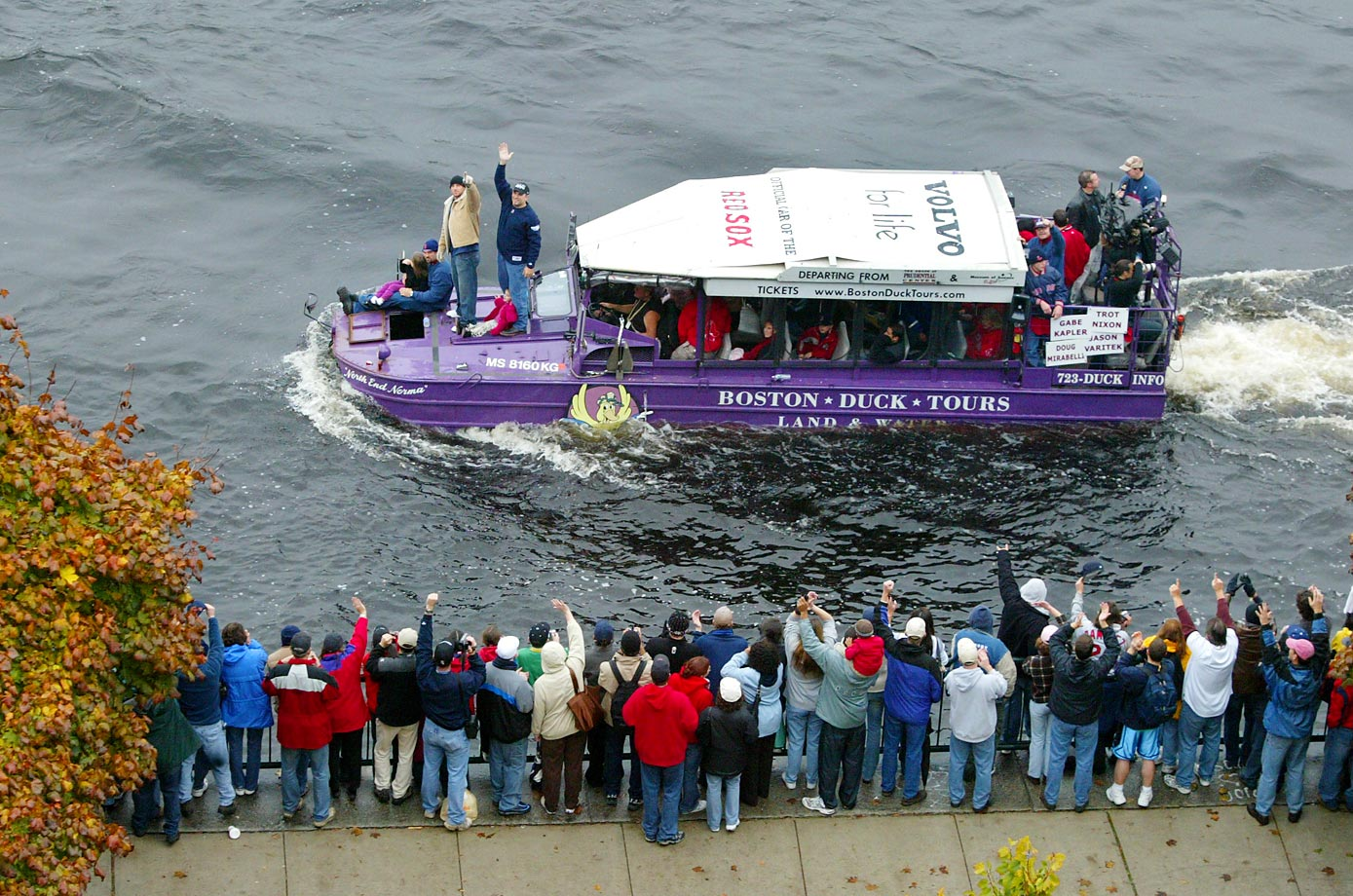 A duck boat in the rolling rally parade celebrating the Boston Red Sox's World Series victory in 2004.