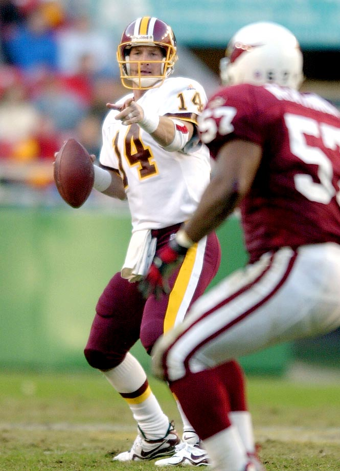 Brad Johnson is one of only a handful of quarterbacks to twice throw for 2,500 yards in a season, only to find himself briefly unemployed after the year. He did it in 2000 with the Redskins, throwing for 2,505 yards, before signing with the Bucs and throwing for 3,406 yards in 2001. He also did it in 2006 with the Vikings. Granted he struggled that season, racking up 2,750 yards and more interceptions (15) than touchdowns (9), but he still managed to land the No. 2 job in Dallas, where he managed just 506 yards throwing as Tony Romo's backup the next two seasons.