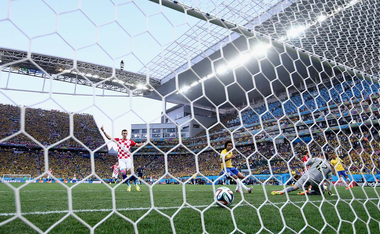 Ivan Perisic of Croatia celebrates the first half goal.