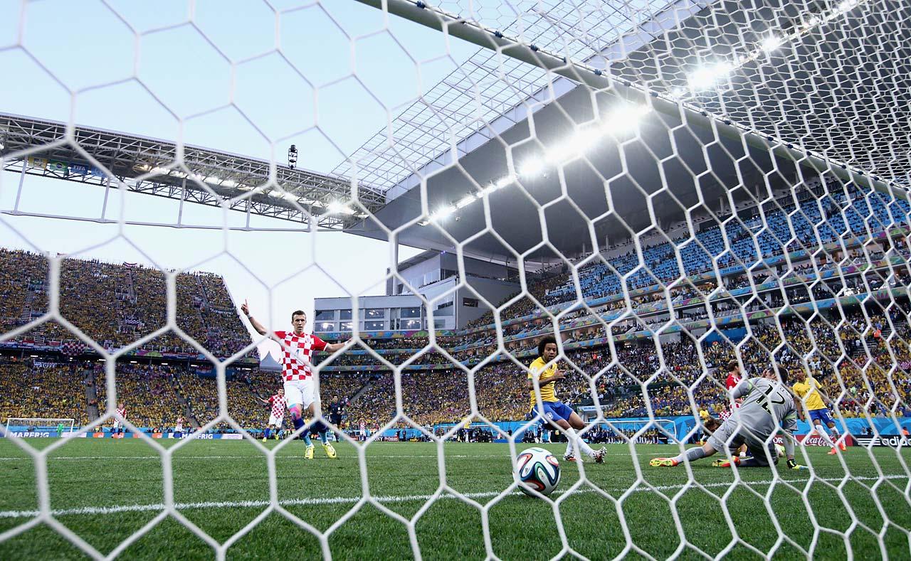 Ivan Perisic of Croatia celebrates the first half goal.