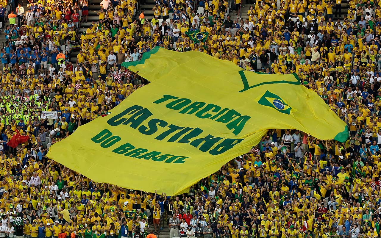"A giant shirt ""Castilho do Brasil Fan Club"" is displayed during the opening game of the tournament."