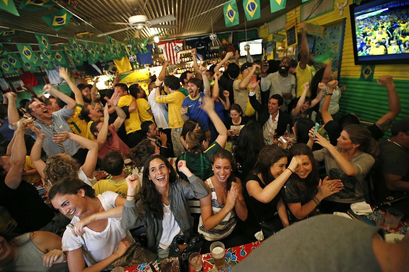 Brazil fans at a bar in the Williamsburg, N.Y.