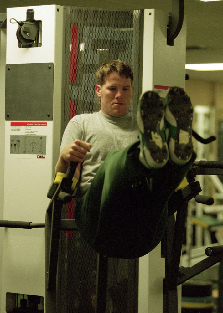 Green Bay Packers quarterback Brett Favre working out in gym at Don Hutson Center in October 1995.