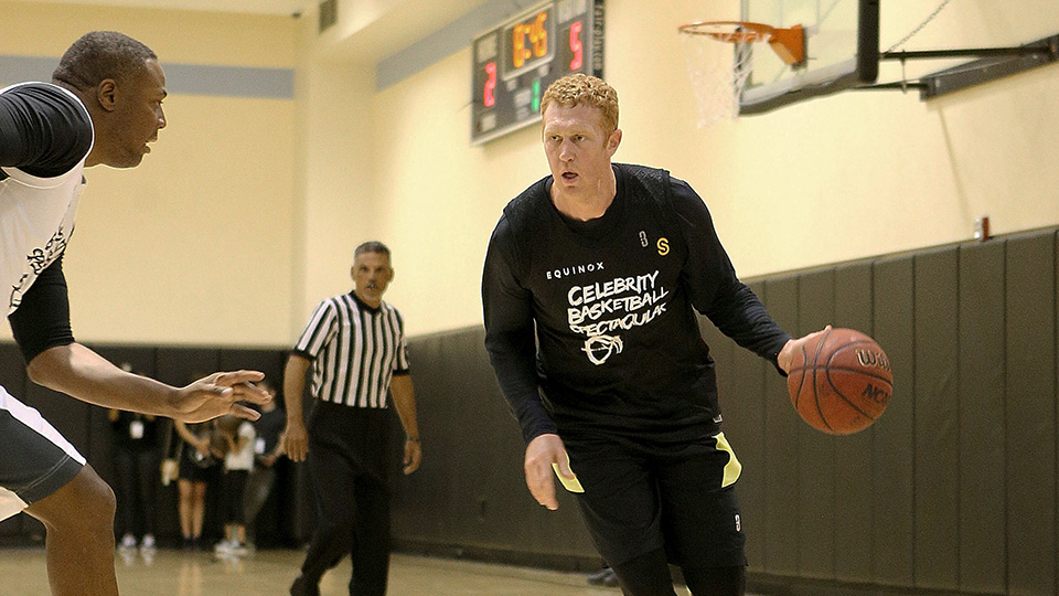 Brian Scalabrine playing in the Equinox-sponsored Celebrity Basketball Spectacular.