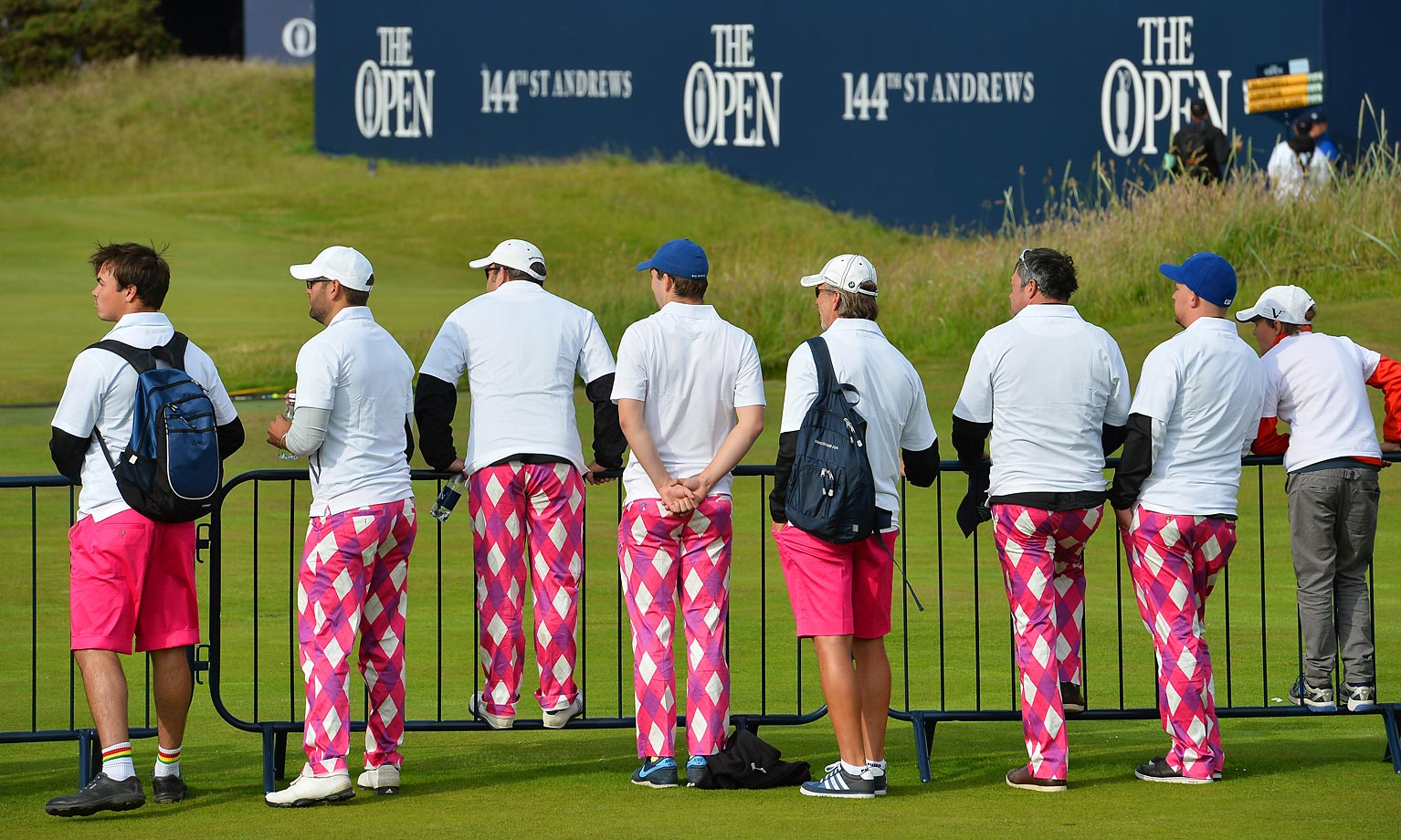 Fans beside the 2nd tee during the first round of the 2015 British Open Golf Championship.