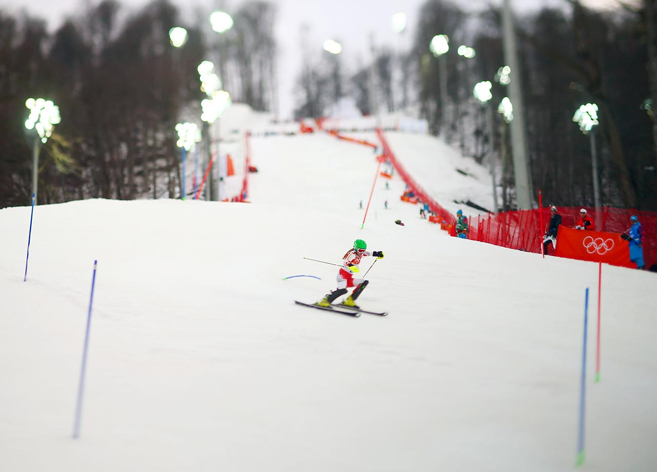 Brittany Phelan of Canada takes her first Slalom run.