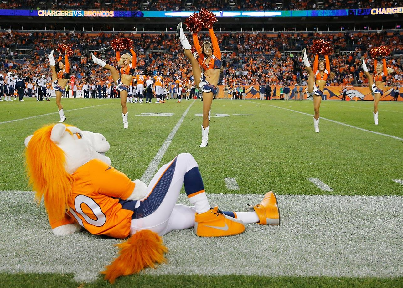 Miles, the Broncos' mascot, takes a break.