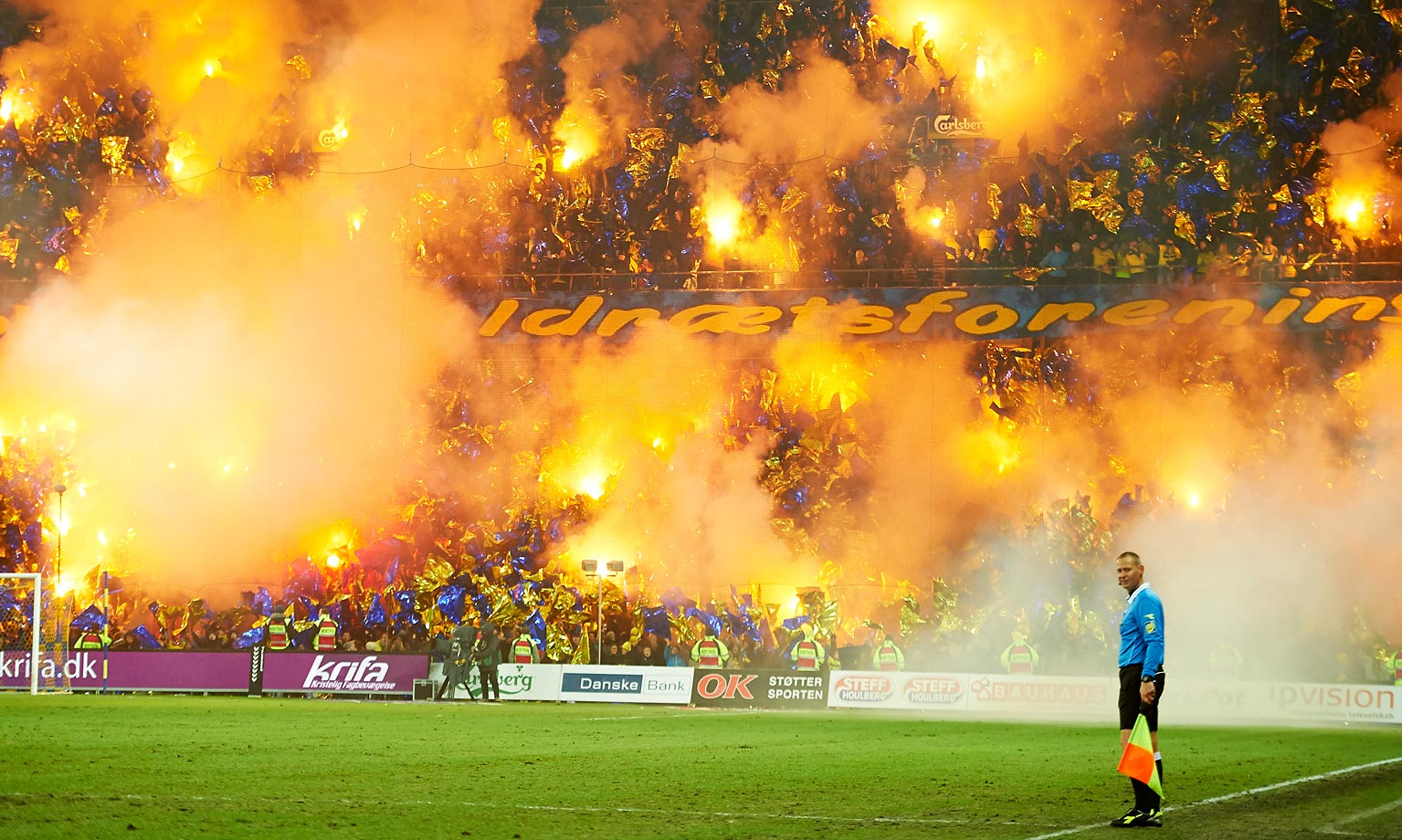 Fans celebrate the 50th birthday of Brondby IF at the 50th minute during the Danish Superliga match between Brondby IF and Silkeborg IF.