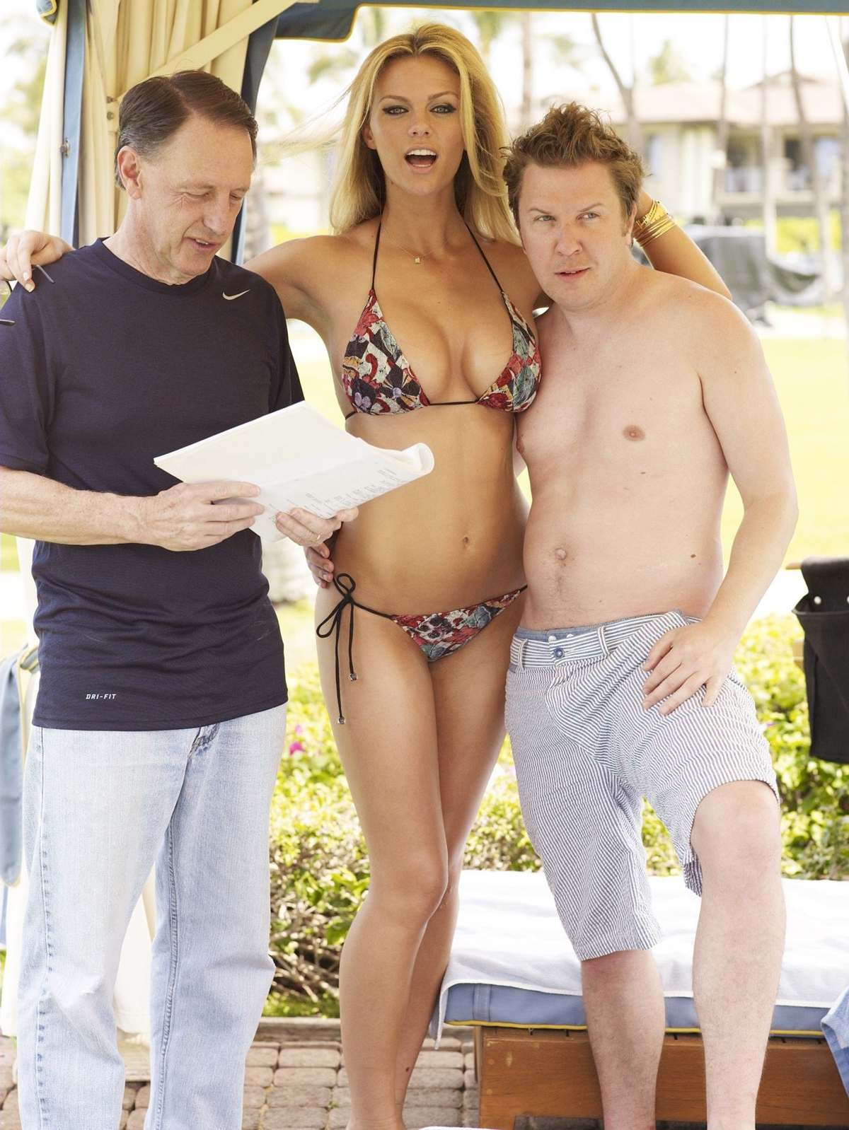 Brooklyn Decker with director Dennis Dugan and actor Nick Swardson, SI Swimsuit 2011