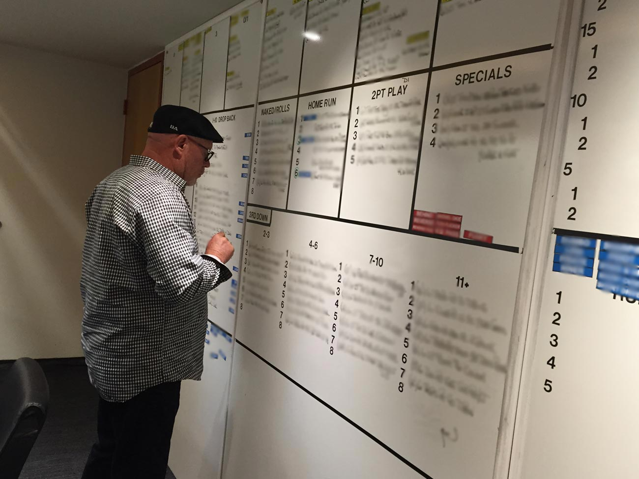 Arians draws up the game plan on the whiteboard. His favorites—and his quarterback's, too—are the Home Runs. (Image has been retouched to obscure play names.)