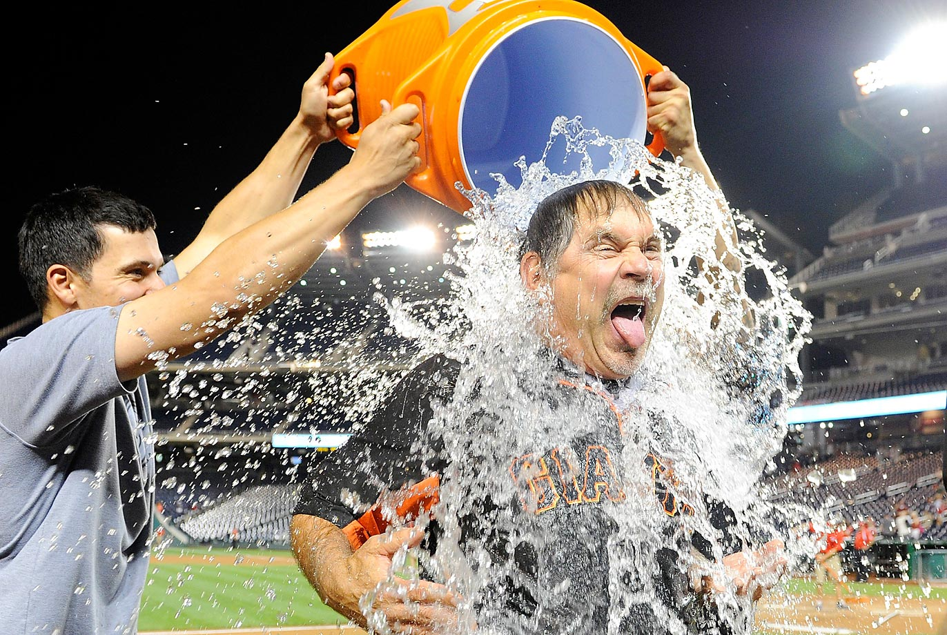 San Francisco Giants manager Bruce Bochy takes the ALS Ice Bucket Challenge after a game against the Nationals in Washington on August 22.