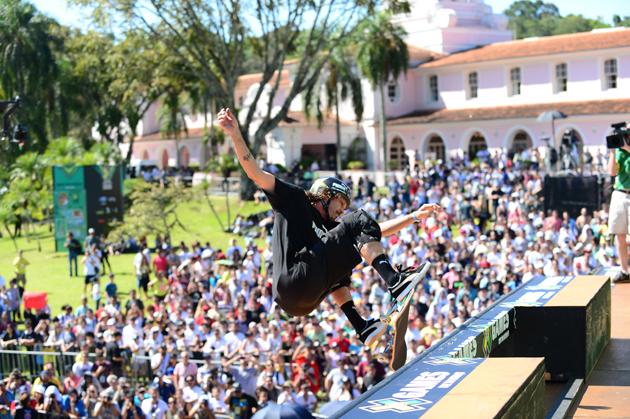 Bucky Lasek competing in Skateboard Vert FInal during X Games Foz Do Iguacu in 2013.