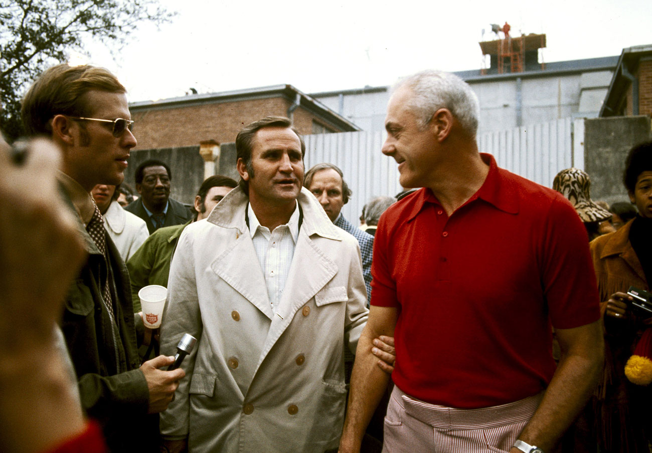 Don Shula and Bud Grant before Super Bowl VIII.